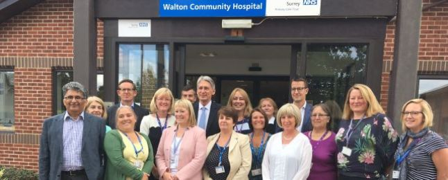 Philip Hamond with the Walton Community Hospital Staff